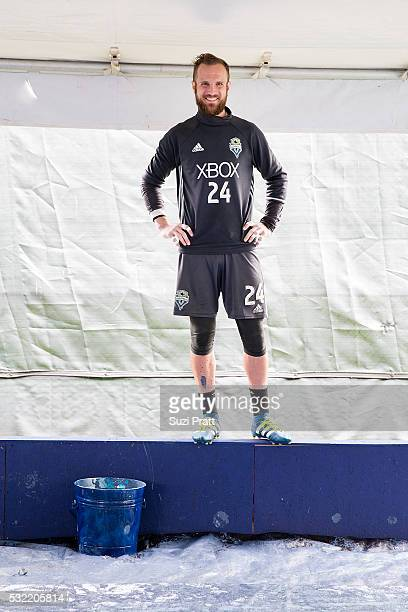 Seattle Sounders FC goalkeeper Stefan Frei looks over creation of the first piece of 'The Fabric Of Sounders FC' community project with Seattle...