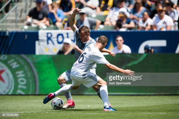 Seattle Sounders forward Jordan Morris fights for the ball against Los Angeles Galaxy defender Nathan Smith during the game between the LA Galaxy and...