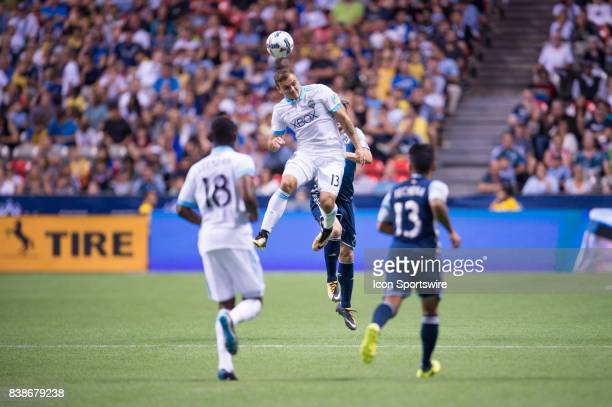 Seattle Sounders forward Jordan Morris heads the ball during their match against the Vancouver Whitecaps at BC Place on August 23 2017 in Vancouver...