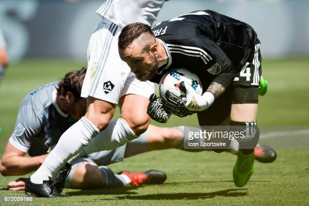 Seattle Sounders goalkeeper Stefan Frei scoops up the ball during the game between the LA Galaxy and the Seattle Sounders on April 23 at StubHub...