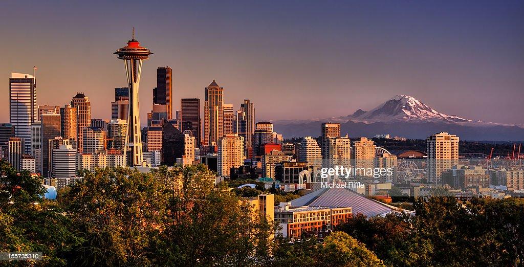 Seattle, Space Needle and Mt. Rainier