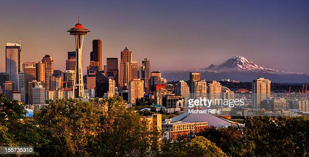 Seattle, Space Needle and Mt. Rainier