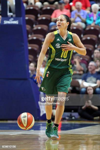 Seattle Storm guard Sue Bird brings the ball up court during the first half of an WNBA game between Seattle Storm and Connecticut Sun on August 8 at...