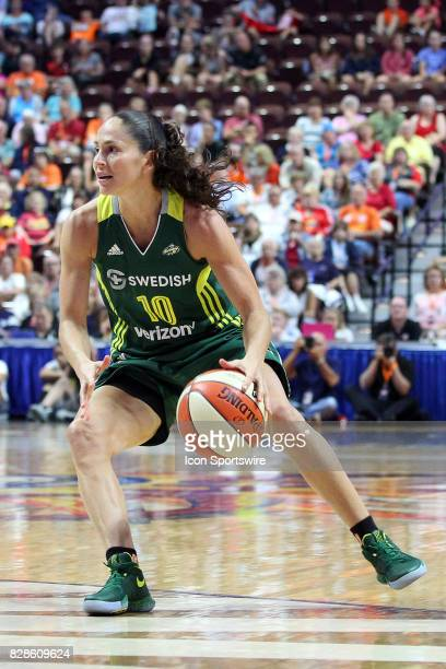 Seattle Storm guard Sue Bird in action during the first half of an WNBA game between Seattle Storm and Connecticut Sun on August 8 at Mohegan Sun...