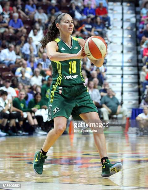Seattle Storm guard Sue Bird passes the ball during the first half of an WNBA game between Seattle Storm and Connecticut Sun on August 8 at Mohegan...