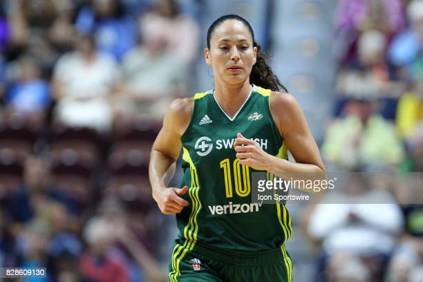 Seattle Storm guard Sue Bird sprints down the court during the first half of an WNBA game between Seattle Storm and Connecticut Sun on August 8 at...