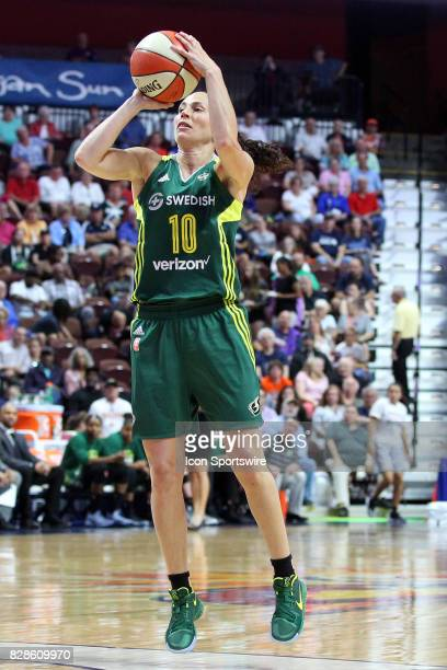 Seattle Storm guard Sue Bird takes a jump shot during the first half of an WNBA game between Seattle Storm and Connecticut Sun on August 8 at Mohegan...