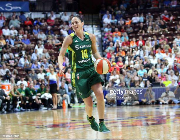Seattle Storm guard Sue Bird with the ball during the first half of an WNBA game between Seattle Storm and Connecticut Sun on August 8 at Mohegan Sun...