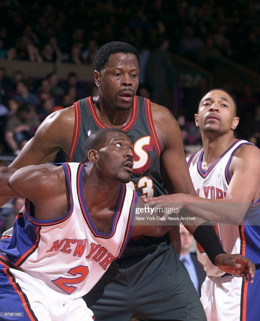 Seattle Supersonics Patrick Ewing fights for position with