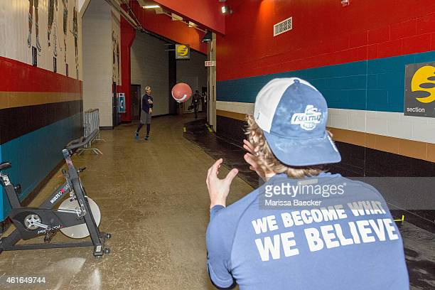 Seattle Thunderbirds' players warm up tossing a football at the Kelowna Rockets on January 16 2015 at Prospera Place in Kelowna British Columbia...