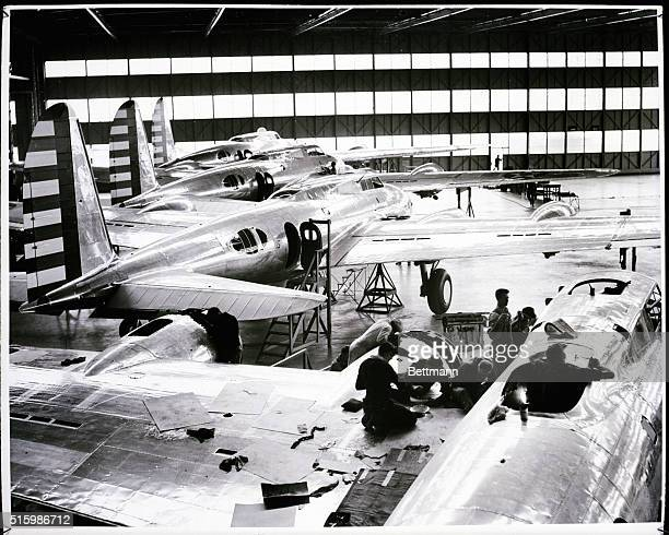 Boeing Flying Fortress B17C on the final assembly line in the main plant in the Boeing Aircraft Co Undated Photo