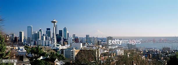 Seattle Washington City Skyline wide panoramic