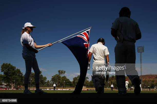 Seb Gotch and Dan Christian of the Bushrangers walk out to bat during the Sheffield Shield final between Victoria and South Australia on March 29...