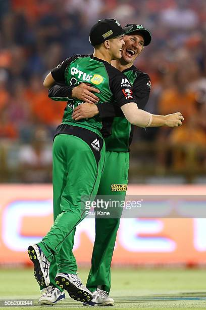 Seb Gotch and Dan Worrall of the Stars celebrate after dismissing Andrew Tye of the Scorchers during the Big Bash League match between the Perth...