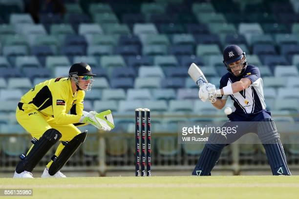 Seb Gotch of the Bushrangers bats during the JLT One Day Cup match between Victoria and Western Australia at WACA on October 1 2017 in Perth Australia