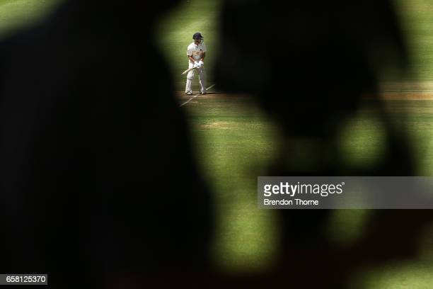 Seb Gotch of the Bushrangers bats during the Sheffield Shield final between Victoria and South Australia on March 27 2017 in Alice Springs Australia