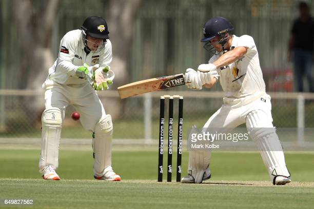 Seb Gotch of the Bushrangers bats during the Sheffield Shield match between Victoria and Western Australia at Traeger Park on March 9 2017 in Alice...