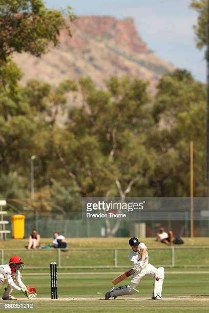 Seb Gotch of the Bushrangers plays a cover drive during the Sheffield Shield final between Victoria and South Australia on March 30 2017 in Alice...