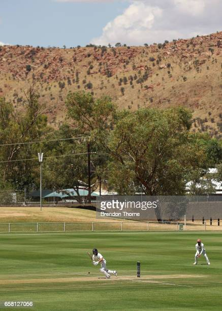 Seb Gotch of the Bushrangers plays a stroke on the leg side during the Sheffield Shield final between Victoria and South Australia on March 27 2017...