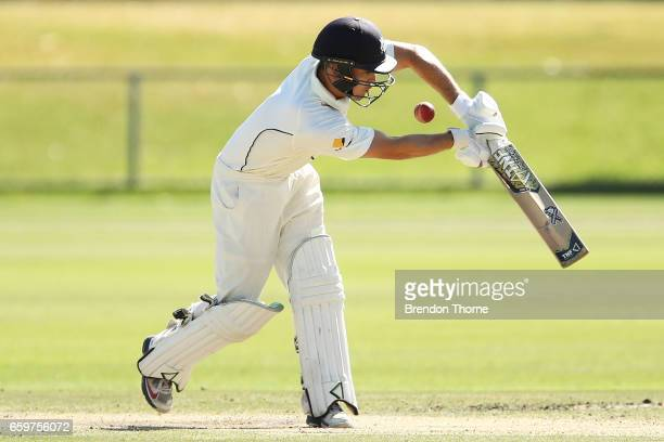 Seb Gotch of the Bushrangers plays a stroke on the leg side during the Sheffield Shield final between Victoria and South Australia on March 29 2017...