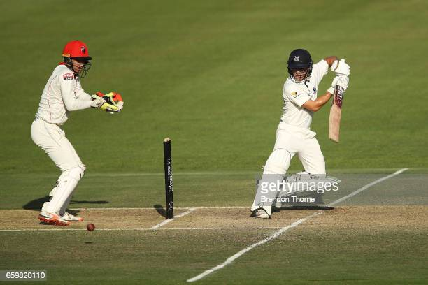 Seb Gotch of the Bushrangers plays a stroke on the off side during the Sheffield Shield final between Victoria and South Australia on March 29 2017...