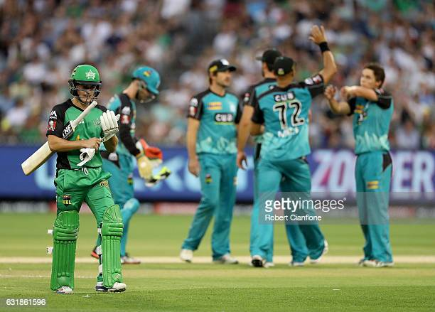 Seb Gotch of the Melbourne Stars walks off the ground after he was bowled by Mitch Swepson of the Brisbane Heat during the Big Bash League match...