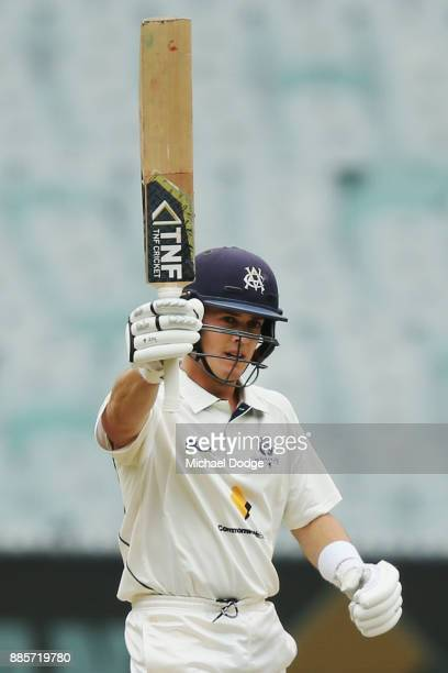 Seb Gotch of Victoria celebrates his half century during day three of the Sheffield Shield match between Victoria and Western Australia at Melbourne...