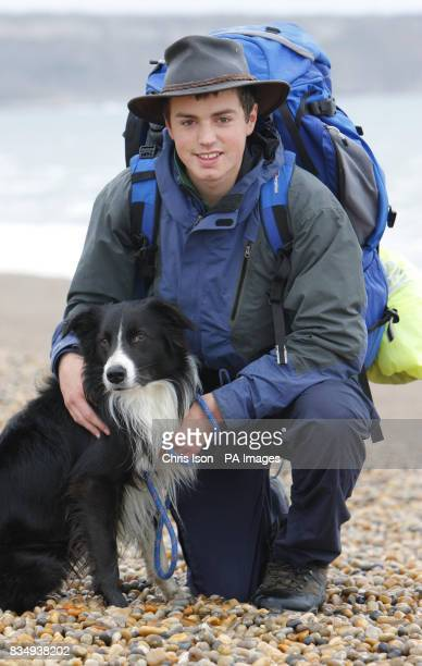 Seb Green of Weymouth who has spent almost a year of his life walking more than 3100 miles around the UK with his border collie Flash on Chesil Beach...