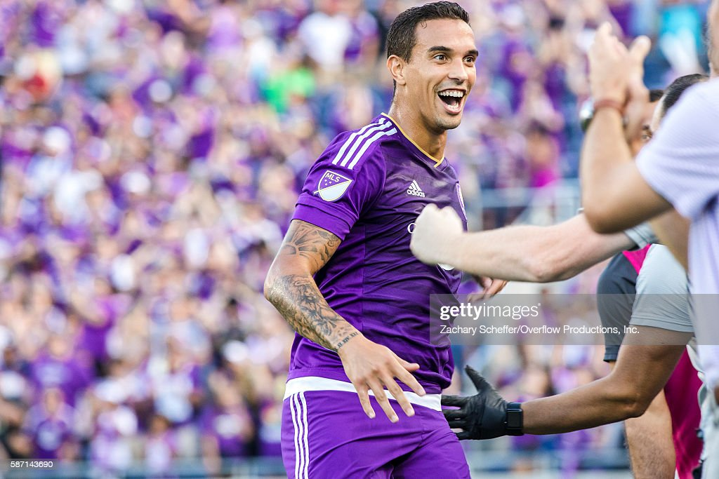 Seb Hines #3 celebrates his first half header goal for Orlando against Seattle at Citrus Bowl on August 07, 2016 in Orlando, Florida.