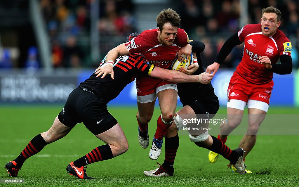 Seb Jewell of London Welsh is caught by the Saracens defence during the Aviva Premiership match between Saracens and London Welsh at Allianz Park on March 3, 2013 in Barnet, England.