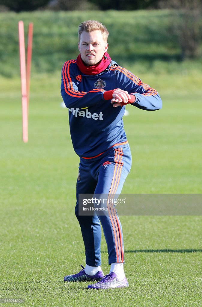 Seb Larsson during a Sunderland AFC training session at the Academy of Light on February 24, 2016 in Sunderland, England.