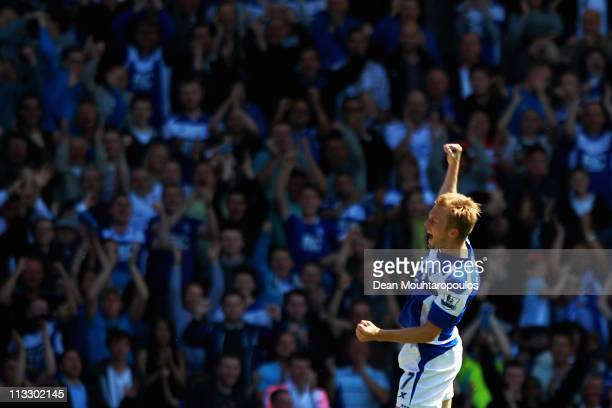 Seb Larsson of Birmingham celebrates scoring his teams first goal of the game during the Barclays Premier League match between Birmingham City and...