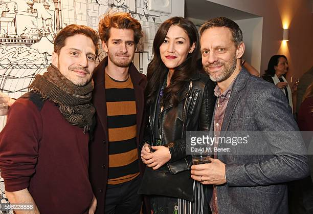 Seb Maguire Andrew Garfield Eleanor Matsuura and Trevor White attend the press night after party for 'The Master Builder' at The Old Vic Theatre on...