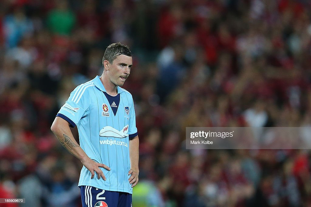 Seb Ryall of Sydney FC looks dejected after their loss during the round three A-League match between Sydney FC and the Western Sydney Wanderers at Allianz Stadium on October 26, 2013 in Sydney, Australia.