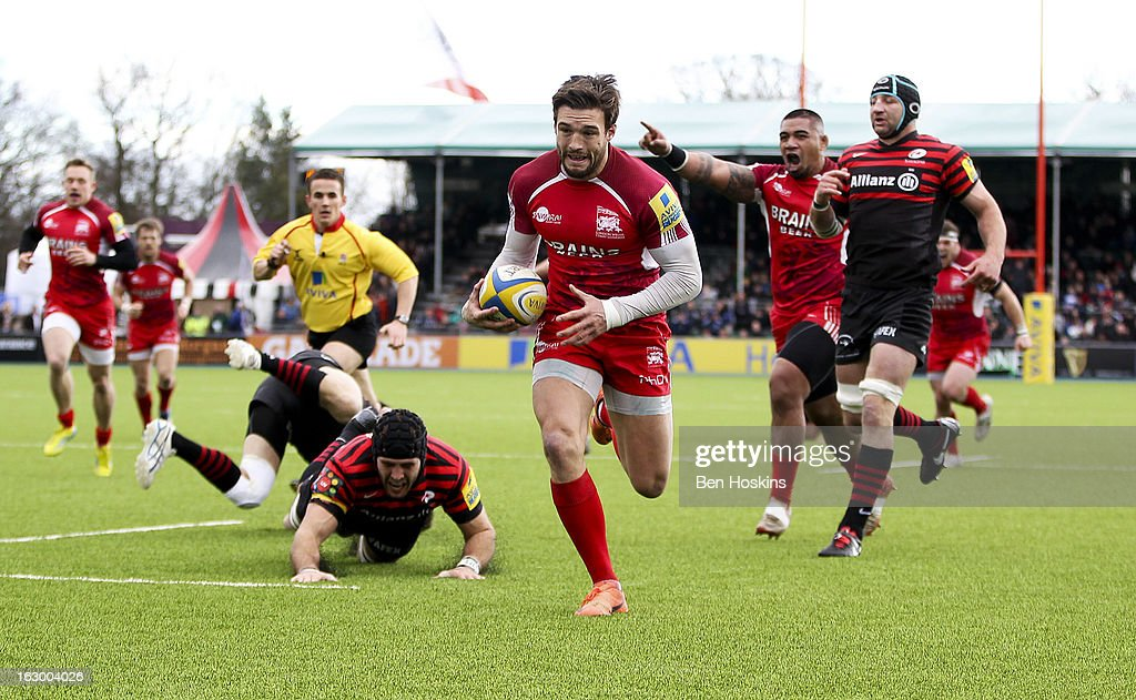 Seb Stegmann of London Welsh breaks away from the Saracens defence to score the opening try of the game during the Aviva Premiership match between Saracens and London Welsh at Allianz Park on March 03, 2013 in Barnet, England.