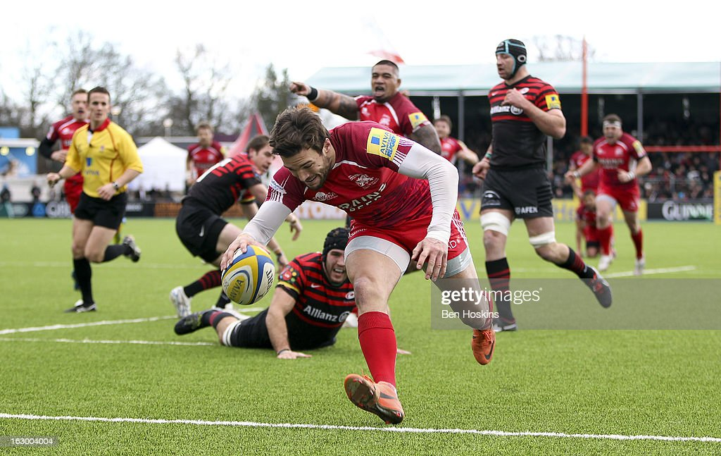 Seb Stegmann of London Welsh scores the opening try of the game during the Aviva Premiership match between Saracens and London Welsh at Allianz Park on March 03, 2013 in Barnet, England.