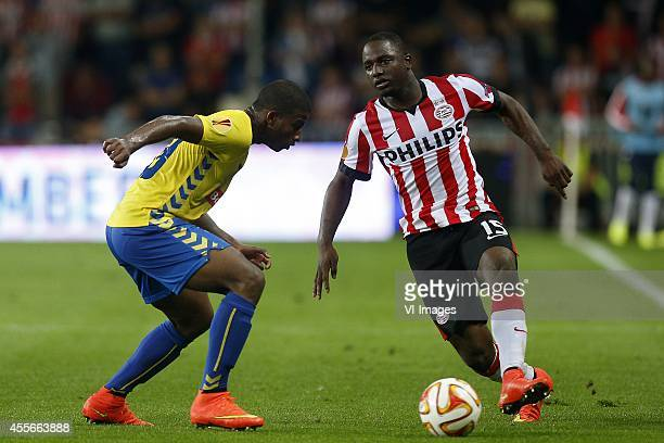 Seba of Estoril Praia Jetro Willems of PSV during the UEFA Europa League match between PSV and GD Estoril Praia on September 18 2014 at the Philips...