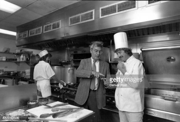 Sebanton Restaurant owner Philipe Colom talks with chef Pierre Jenatton in the kitchen of his Longmont restaurant Credit The Denver Post