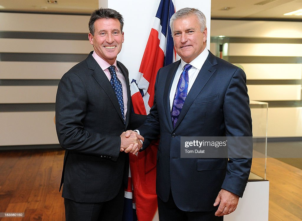 Sebastain Coe (L) and New BOA Chief Executive Officer Bill Sweeney (R) pose for photographs during a press conference to announce his appointment as the BOA Chief Executive Officer October 7, 2013 in London, England.