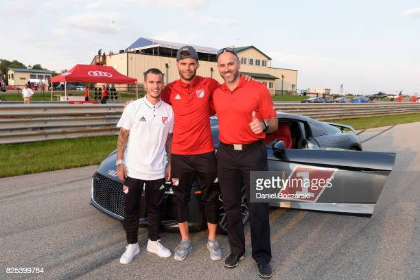 Sebastain Giovinco of Toronto FC Nemanja Nikolic of Chicago Fire and Emile Boure attend as Audi hits the track with Major League Soccer AllStar...