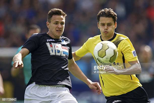 Sebastiaan de Wilde of FC Eindhoven Enes Unal of NAC Breda during the Playoffs Promotion/Relegation return match between NAC Breda and FC Eindhoven...