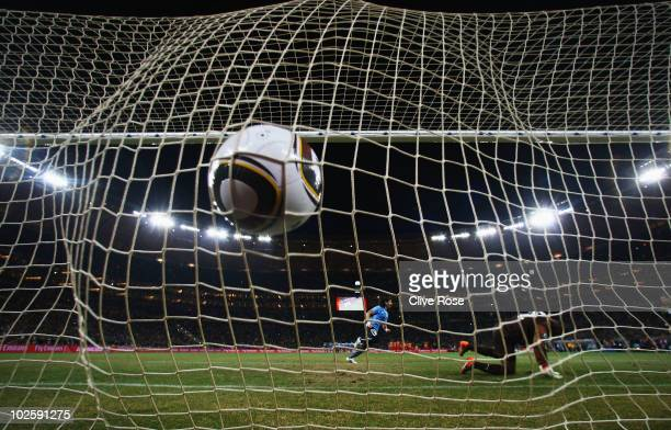 Sebastian Abreu of Uruguay scores the winning penalty past Richard Kingson of Ghana in a penalty shoot out during the 2010 FIFA World Cup South...