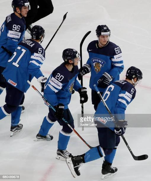 Sebastian Aho and Julius Honka of Finland celebrate a goal with teammattes during the 2017 IIHF Ice Hockey World Championship game between Finland...