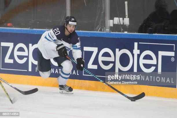Sebastian Aho of Finland in action during the 2017 IIHF Ice Hockey World Championship game between Finland and France at AccorHotels Arena on May 7...