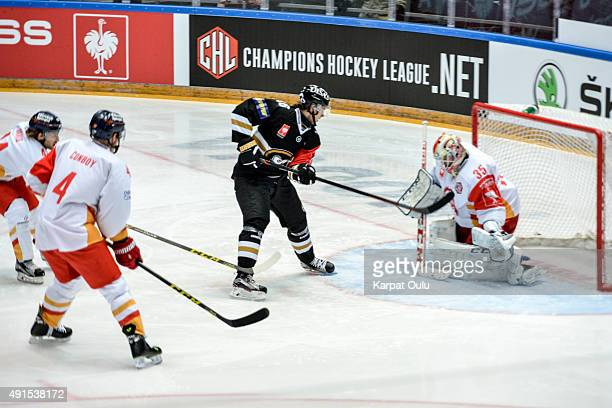 Sebastian Aho of Karpat Oulu scoares the opening goal of game during the Champions Hockey League round of thirtytwo game between Karpat Oulu and...