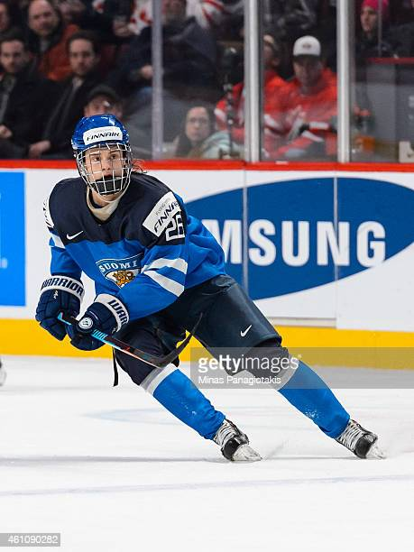 Sebastian Aho of Team Finland skates in a preliminary round game during the 2015 IIHF World Junior Hockey Championships against Team Germany at the...