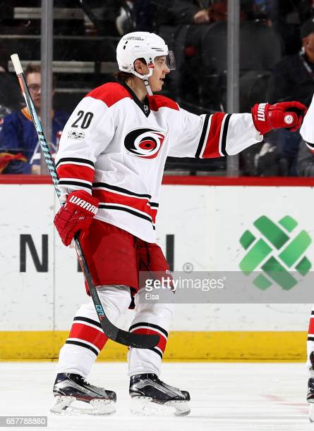 Sebastian Aho of the Carolina Hurricanes celebrates his goal in the second period against the New Jersey Devils on March 25 2017 at Prudential Center...