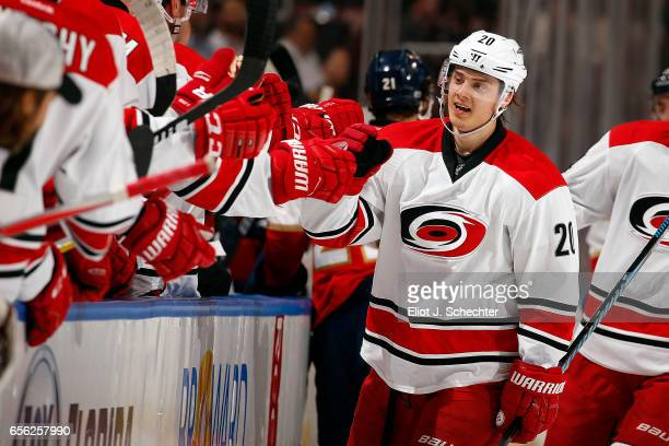 Sebastian Aho of the Carolina Hurricanes celebrates his goal with teammates during the first period against the Florida Panthers at the BBT Center on...