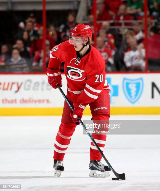 Sebastian Aho of the Carolina Hurricanes controls a puck on the ice during an NHL game against the Dallas Stars on April 1 2017 at PNC Arena in...