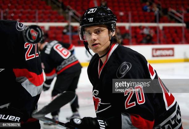 Sebastian Aho of the Carolina Hurricanes juggles a puck during warmups prior to an NHL game against Arizona Coyotes on March 3 2017 at PNC Arena in...